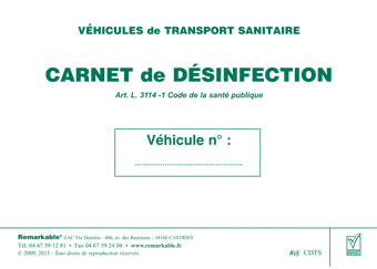 carnet-desinfection PAPETERIE: Carnet de désinfection - VSL